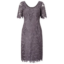 Buy Jacques Vert Leaf Lace Dress, Light Grey Online at johnlewis.com