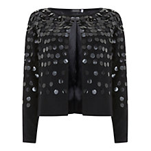 Buy Mint Velvet Sequin Embellished Cropped Cardigan, Black Online at johnlewis.com