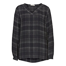 Buy Betty & Co. V-Neck Check Blouse, Dark Blue/White Online at johnlewis.com