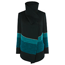 Buy Karen Millen Blurred Stripe Draped Front Jacket, Blue/Multi Online at johnlewis.com