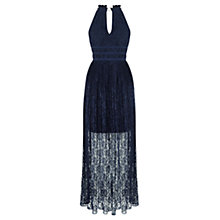 Buy Oasis Lace Pleated Maxi Dress, Navy Online at johnlewis.com