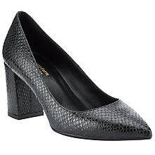 Buy Modern Rarity Malia Block Heeled Court Shoes, Black Snake Online at johnlewis.com