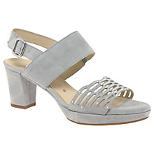 Buy Gabor Ariella Wide Cut Out Block Heeled Court Shoes, Light Grey Online at johnlewis.com