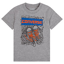 Buy Converse Boys' BK Map Print T-Shirt, Heather Grey Online at johnlewis.com