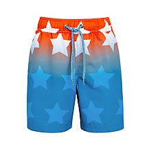 Buy John Lewis Boys' Star Board Shorts, Coral/Blue Online at johnlewis.com