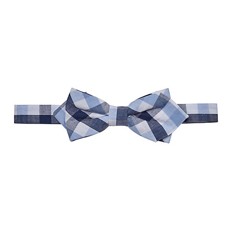 buy lewis boys check pointed bow tie blue white