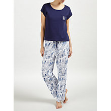 Buy John Lewis Shelley Sea Print Pyjama Set, Ivory/Blue Online at johnlewis.com