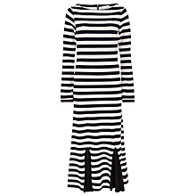 Buy Finery Cygnet Stripe Godet Detail Dress, Black/White Online at johnlewis.com