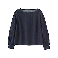 Buy Toast Gathered Sleeve Denim Top, Indigo Online at johnlewis.com