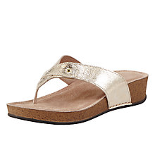 Buy John Lewis Toe Post Wedge Heeled Sandals, Gold Online at johnlewis.com
