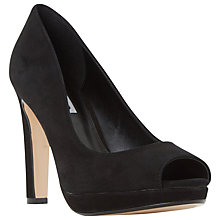 Buy Dune Dulse Peep Toe Block Heeled Sandals, Black Suede Online at johnlewis.com