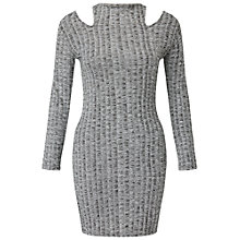 Buy Miss Selfridge Petite Cold Shoulder Dress, Mid Grey Online at johnlewis.com