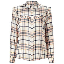 Buy Miss Selfridge Check Ruffle Bib Shirt, Tan Online at johnlewis.com