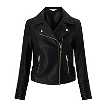 Buy Miss Selfridge Petite PU Biker Jacket, Black Online at johnlewis.com