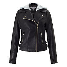 Buy Miss Selfridge Faux Leather Hooded Biker Jacket, Light Grey Online at johnlewis.com