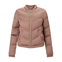 Buy Miss Selfridge Satin Puffer Jacket, Powder Blush Online at johnlewis.com