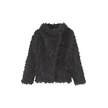 Buy Mango Kids Girls' Betty Faux Fur Coat, Grey Online at johnlewis.com