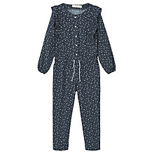 Buy Mango Kids Girls' Dottie Print Long Sleeve Jumpsuit, Navy Online at johnlewis.com
