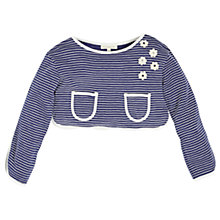 Buy Angel & Rocket Girls' Striped Flower Applique Crop Top, Navy/White Online at johnlewis.com