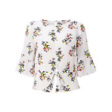Buy Miss Selfridge Cream Petites Printed Tie Front Top, Cream Online at johnlewis.com