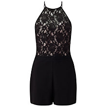 Buy Miss Selfridge Petite Lace Overlay Playsuit, Black Online at johnlewis.com