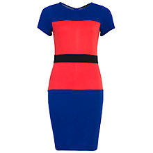 Buy French Connection Manhattan Colour Block Dress, Princess Rock/Riot Red/Black Online at johnlewis.com