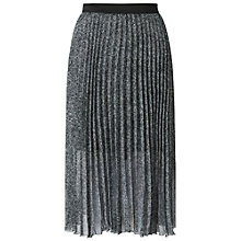 Buy Miss Selfridge Animal Pleated Skirt, Black Online at johnlewis.com