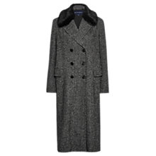 Buy French Connection Rupert Tweed Double Breasted Coat, Black/White Online at johnlewis.com