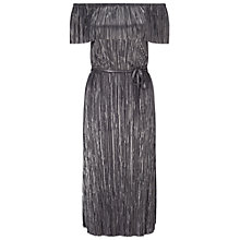 Buy Miss Selfridge Plisse Bardot Midi Dress, Silver/Grey Online at johnlewis.com