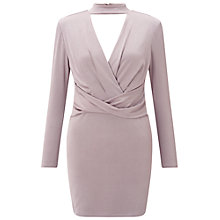 Buy Miss Selfridge Petite Chocker Bodycon Wrap Dress, Silver Grey Online at johnlewis.com