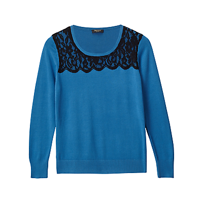 Precis Petite Alicia Lace Detail Jumper, Teal