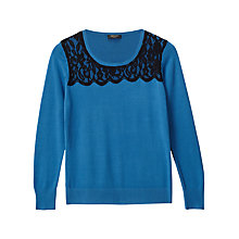 Buy Precis Petite Alicia Lace Detail Jumper, Teal Online at johnlewis.com