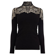 Buy Coast Ikanna Lace Trim Knitted Top, Black Online at johnlewis.com
