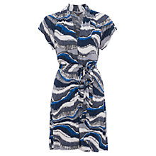 Buy French Connection Meadow Jersey Mini Frill Sleeve Dress, Blue/Multi Online at johnlewis.com