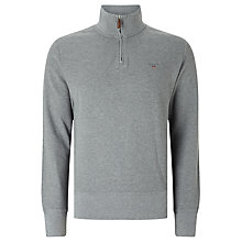 Buy Gant Honeycomb Zip Neck Top, Grey Melange Online at johnlewis.com