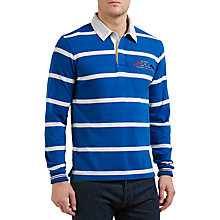 Buy Gant Breton Stripe Rugger Jersey Rugby Shirt, Nautical Blue Online at johnlewis.com