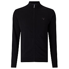 Buy Gant Lightweight Cotton Zip Cardigan, Black Online at johnlewis.com