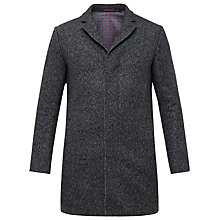 Buy Ted Baker Mel Melton Twill Stitch Overcoat, Charcoal Online at johnlewis.com