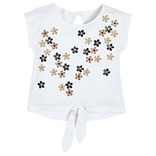 Buy Angel & Rocket Girls' Laurie Sequin Flowers Tie Front Top, White Online at johnlewis.com