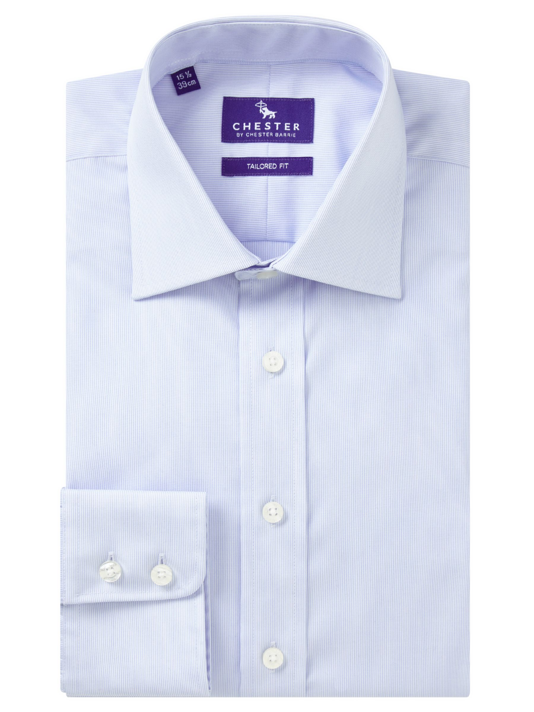 Chester by Chester Barrie Chester by Chester Barrie Hairline Stripe Tailored Fit Shirt, Blue/White