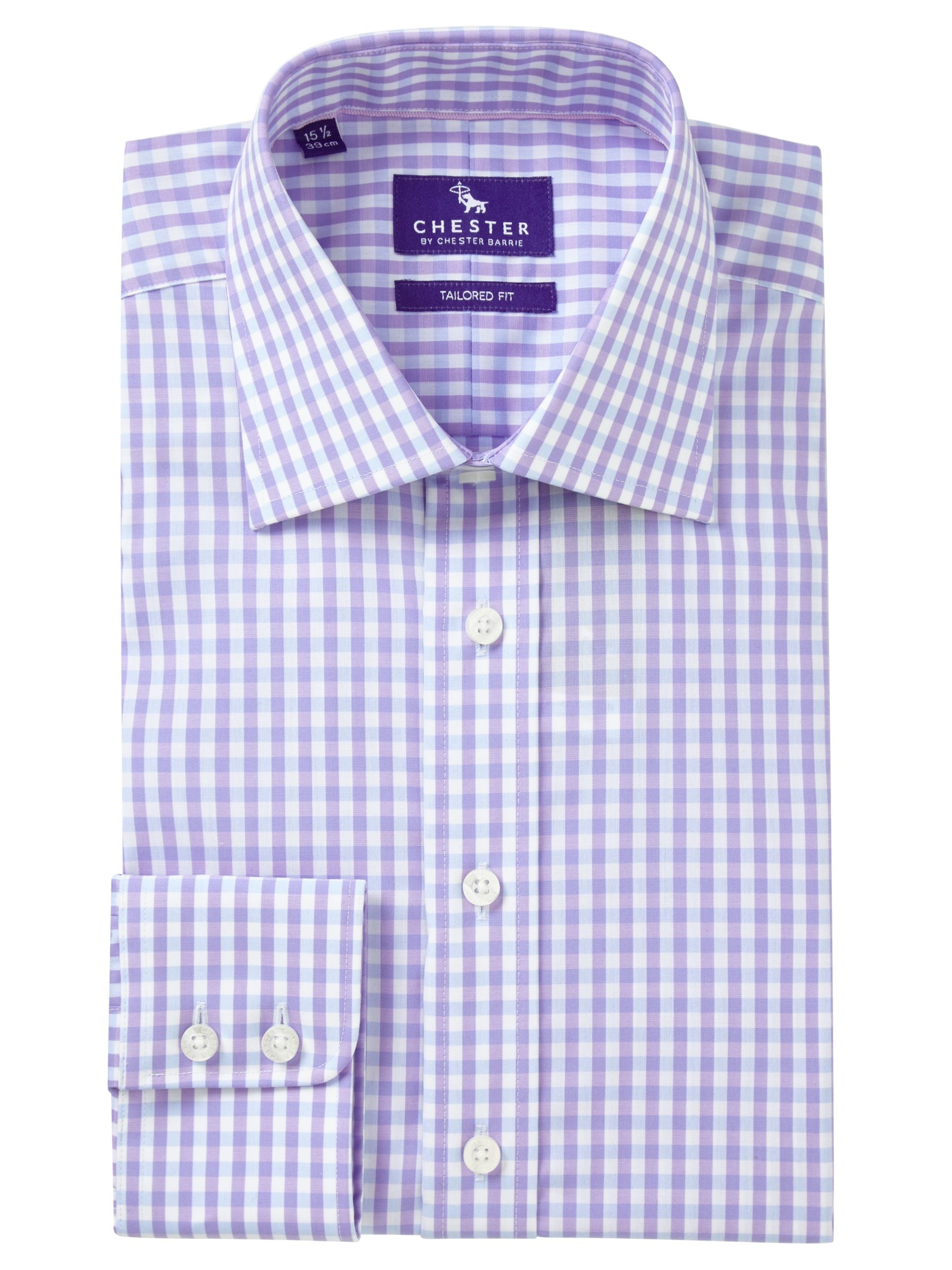Chester by Chester Barrie Chester by Chester Barrie Grid Check Tailored Fit Shirt, Lilac/Sky