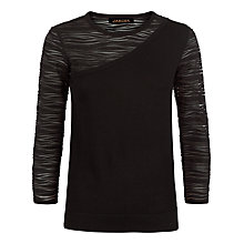 Buy Jaeger Knitted Panelled Top, Black Online at johnlewis.com