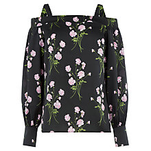 Buy Warehouse English Rose Top, Black Online at johnlewis.com