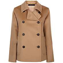 Buy Jaeger Slouchy Double Button Wool Pea Coat, Camel Online at johnlewis.com