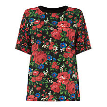 Buy Warehouse Rose Print Woven T-Shirt, Multi Online at johnlewis.com