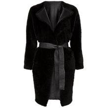 Buy Jaeger Sheepskin Leather Reversible Coat, Black Online at johnlewis.com