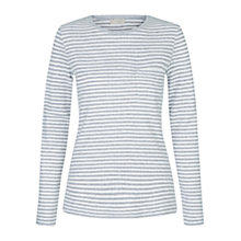 Buy Hobbs Pointelle Stripe Pyjama Top, Grey Marl Online at johnlewis.com