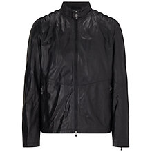 Buy BOSS Green C-Jaikido Leather Biker Jacket, Black Online at johnlewis.com