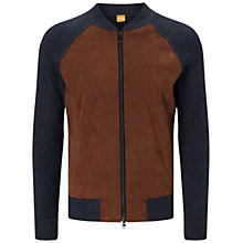 Buy BOSS Orange Arbomber Knit Jacket, Dark Blue Online at johnlewis.com