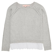 Buy Jigsaw Girls' Broderie Hem Jumper, Grey Marl Online at johnlewis.com